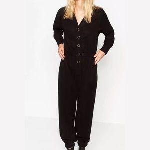 NWT Zara Collection Black Snap Jumpsuit Medium